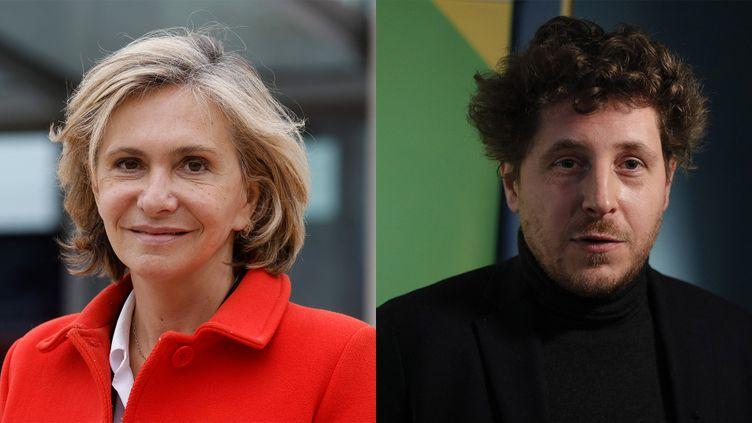 Valérie Pecresse (à gauche) et Julien Bayou (à droite). (LUDOVIC MARIN / GEOFFROY VAN DER HASSELT / AFP)