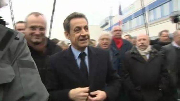 Nicolas Sarkozy visite l'entreprise Photowatt à Bourgoin-Jallieu (Isère), le 14 février 2012 (FTVI / FRANCE 2)