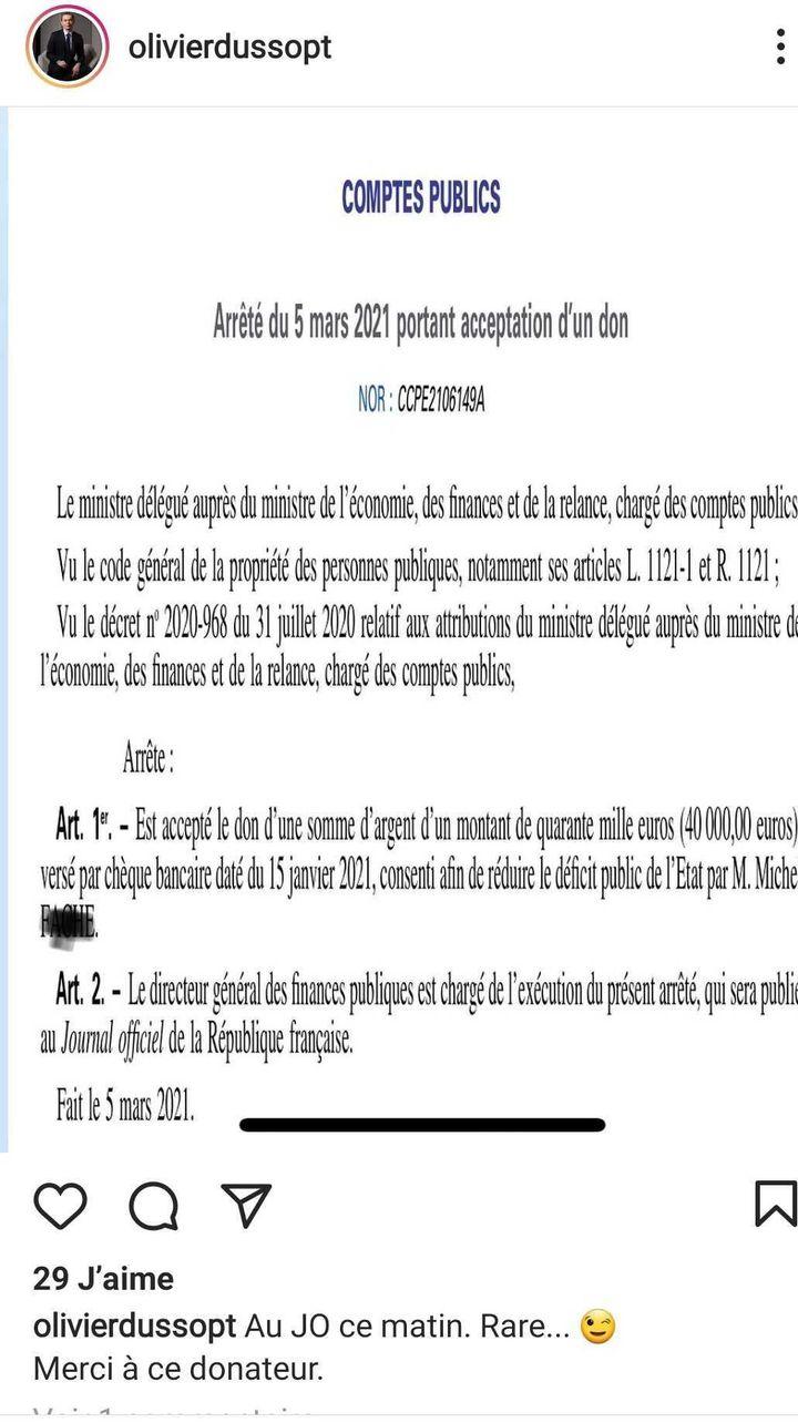 Capture d'écran d'une photo publiée sur le compte Instagram duministre des Comptes publics, Olivier Dussopt, le 11 mars 2021. (INSTAGRAM / OLIVIER DUSSOPT)