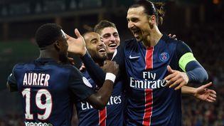Les joueurs du PSG vainqueurs à Saint-Etienne 2-0, diamnche 31 janvier 2016. (PHILIPPE DESMAZES / AFP)