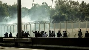 Des migrants fuient des tirs de gaz lacrymogènes à Calais (Pas-de-Calais), le 21 septembre 2016. (PHILIPPE HUGUEN / AFP)
