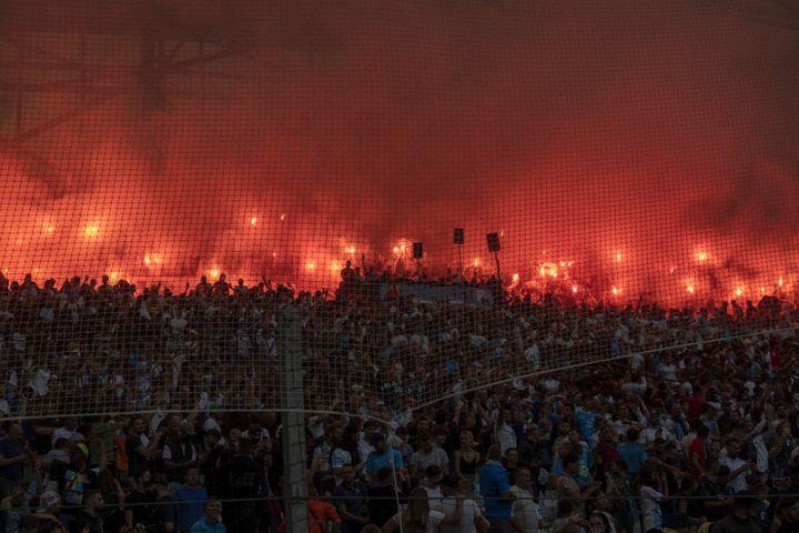 Les tribunes du Vélodrome lors du match entre l'Olympique de Marseille et le Stade Rennais, le 19 septembre 2021. (CHRISTOPHE SIMON / AFP)