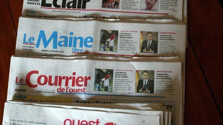 """Les exemplaires de """"Ouest-France"""", du """"Courrier de l'Ouest"""" et du """"Maine libre"""" imprimés à Angers n'ont pas pu être distribués, le 11 février 2019. (MAXPPP)"""
