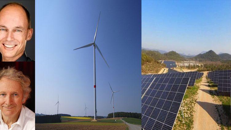 Gérard Feldzer (photo dubas) et Bertrand Picard présentent un système permettant de stocker les énergies renouvelables. (EDF / AKUO ENERGIE)
