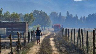 Un camion de pompiers intervenant sur un incendie à Argelès-sur-Mer (Pyrénées-Orientales) le 15 juillet 2019. (MAXPPP)