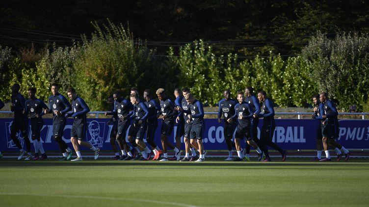 L'Equipe de France de football à l'entrainement à Clairefontaine-en-Yvelines. (CHRISTOPHE SAIDI/SIPA)