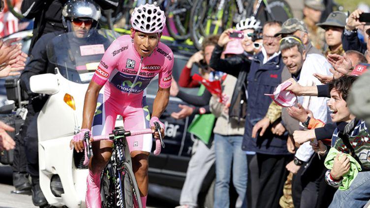 Le grimpeur Nairo Quintana trop fort dans le contre-la-montre (LUK BENIES / AFP)
