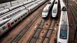 Des trains à l'arrêt sur les voies près de la gare de Lyon, à Paris le 4 avril 2018. (CHRISTOPHE SIMON / AFP)