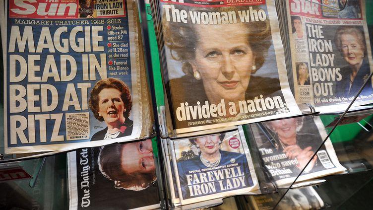 La presse londonienne au lendemain de la mort deMargaret Thatcher, mardi 9 avril 2013. (CARL COURT / AFP)