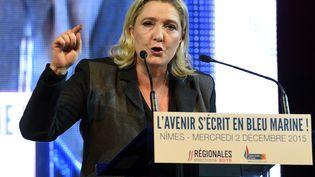 La présidente du Front national, Marine Le Pen, le 2 décembre 2015 à Nîmes (Gard). (PASCAL GUYOT / AFP)