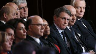 Des membres du gouvernement lors de la conférence de presse de François Hollande à l'Elysée, le 14 janvier 2014. (CHRISTOPHE ENA / AP / SIPA)