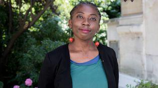 """La députée """"insoumise"""" Danièle Obono, le 20 juin 2017, à son arrivée à l'Assemblée nationale à Paris. (MAXPPP)"""