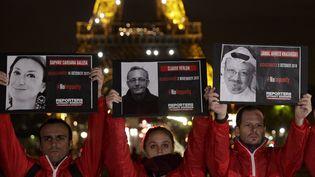 Des portraits de journalistes tués brandis par des membres de Reporters sans frontières, à Paris, le 1er novembre 2018. (GEOFFROY VAN DER HASSELT / AFP)