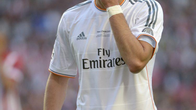 Karim Benzema, sous le maillot du Real Madrid, lors de la finale de la Ligue des champions, le 24 mai 2014, à Lisbonne (Portugal). (BOB THOMAS / POPPERFOTO / GETTY IMAGES)
