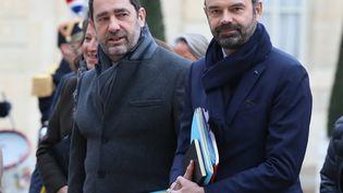 Le Premier ministre Edouard Philippe et le ministre de l'Intérieur, Christophe Castaner, arrivent à l'Elysée, le 4 janvier 2019. (MUSTAFA YALCIN / ANADOLU AGENCY / AFP)