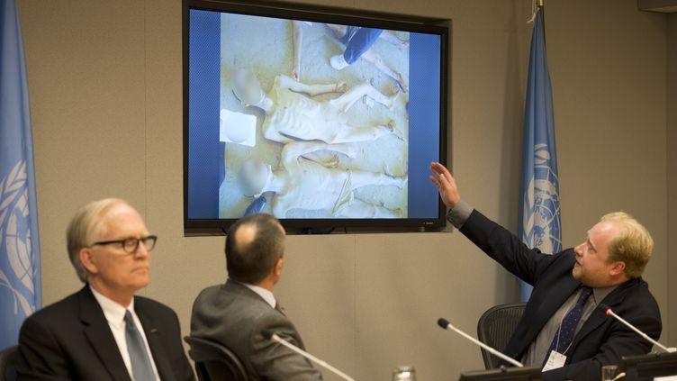 """Le Dr Stuart Hamilton, (à droite), Gérard Araud (au centre),l'ambassadeur français aux Nations Unies, et le professeurDavid M. Crane (gauche), le 15 avril 2014 à New York, dévoilant des photos du """"rapport César"""". (DON EMMERT / AFP)"""
