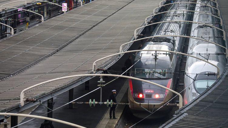 Des trains attendentdans la gare de l'Est, à Paris, le 15 février 2018. (LUDOVIC MARIN / AFP)