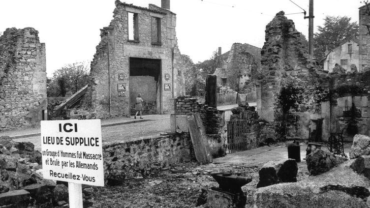 Photo non datée d'Oradour-sur-Glane (Haute-Vienne), où au moins 642 personnes ont été tuées par les nazis le 10 juin 1944. (ROLAND WITSCHEL / AFP)