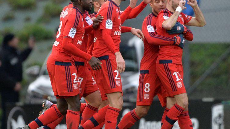 Christophe Jallet satisfait de son but avec Lyon (JEAN-FRANCOIS MONIER / AFP)