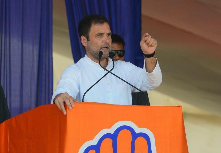 Rahul Gandhi, président du Parti du Congrès, le 19 avril 2019 à Ahmedabad (Inde). (SAM PANTHAKY / AFP)