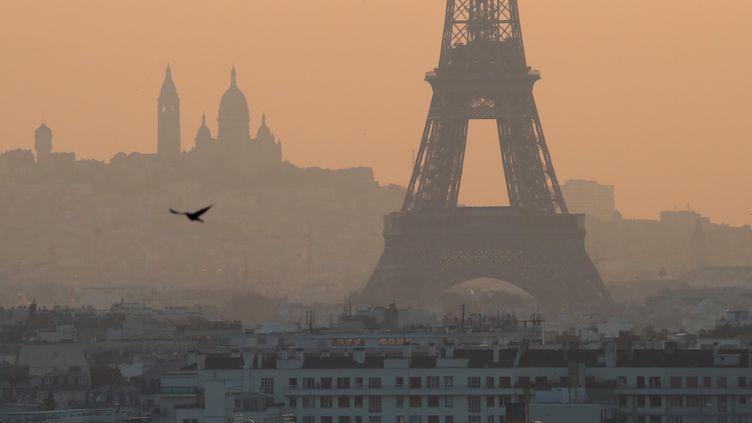Une vue générale de Paris sous un nuage de pollution, le 27 juillet 2018. (MUSTAFA YALCIN / ANADOLU AGENCY / AFP)