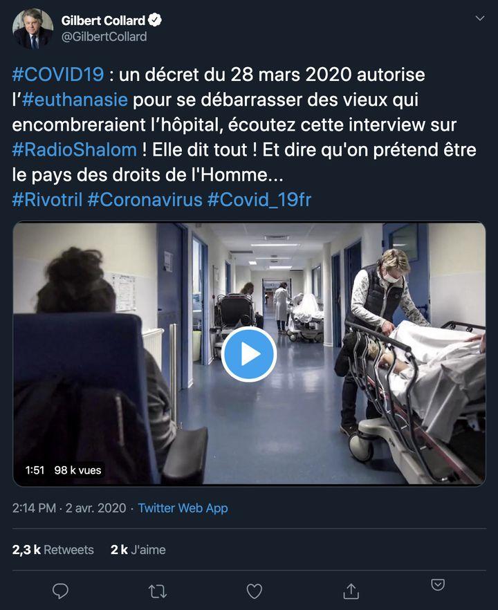 Une capture d'un tweet de l'eurodéputé du Rassemblement national Gilbert Collard, du 2 avril 2020. (CAPTURE ECRAN)