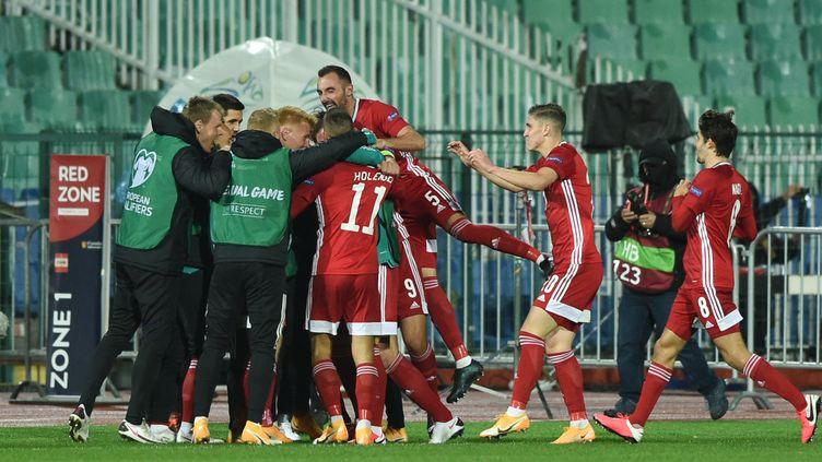 Les joueurs hongrois célèbrent le but de Zsolt Kalmer. (NIKOLAY DOYCHINOV / AFP)