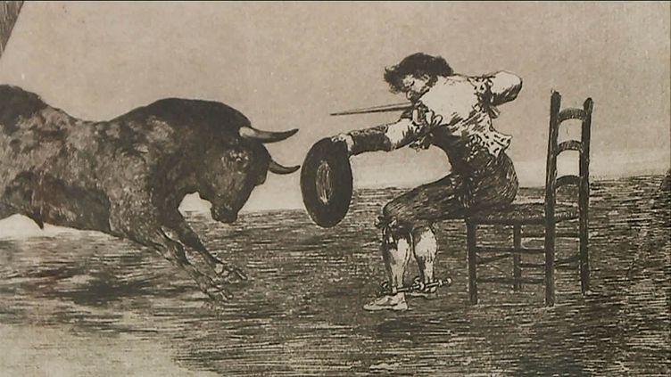 Francisco de Goya y Lucientes - Témérité de Martincho dans la place de Saragosse - Eau-forte, aquatinte brunie, pointe sèche, burin et lavis sur papier - 30,8 x 44,5 cm (Nîmes, Carré d'Art bibliothèque)