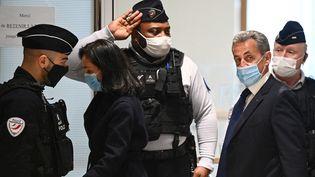 L'ex-chef de l'Etat Nicolas Sarkozy, le 1er mars 2021 au tribunal judiciaire de Paris. (ANNE-CHRISTINE POUJOULAT / AFP)