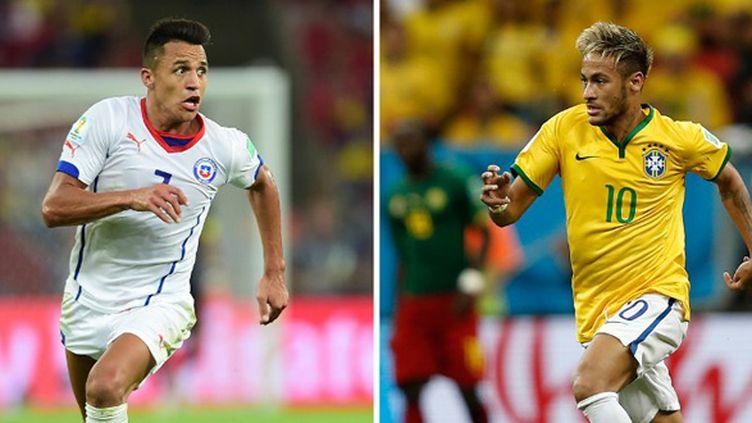 Alexis Sanchez (Chili) et Neymar (Brésil) (JUAN BARRETO / AFP)