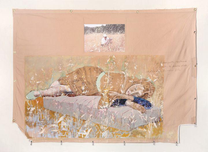 Jean LE GAC, La sieste, 2016, technique mixte, texte et photographie sur toile, 160 x 200 cm  (Art Absolument)