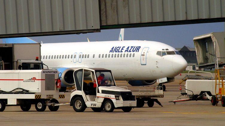 Un Aigle Azur à l'aéroport de Lyon Saint-Exupéry. (photo d'illustration) (MAXPPP)