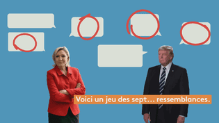 Franceinfo a comparéles discours de Marine Le Pen et Donald Trump. (FRANCEINFO)