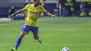 Le footballeur David Barral lors d'un match entre Cadiz et Saragosse, en Espagne, le 15 mai 2018. (MAXPPP)