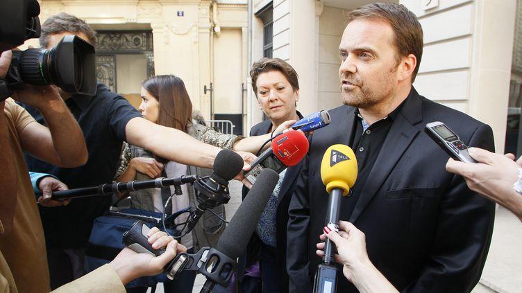 L'un des fondateurs de Bygmalion, Bastien Millot, le 1er octobre 2014, à la sortie du pôle financier à Paris. (MATTHIEU ALEXANDRE / AFP)