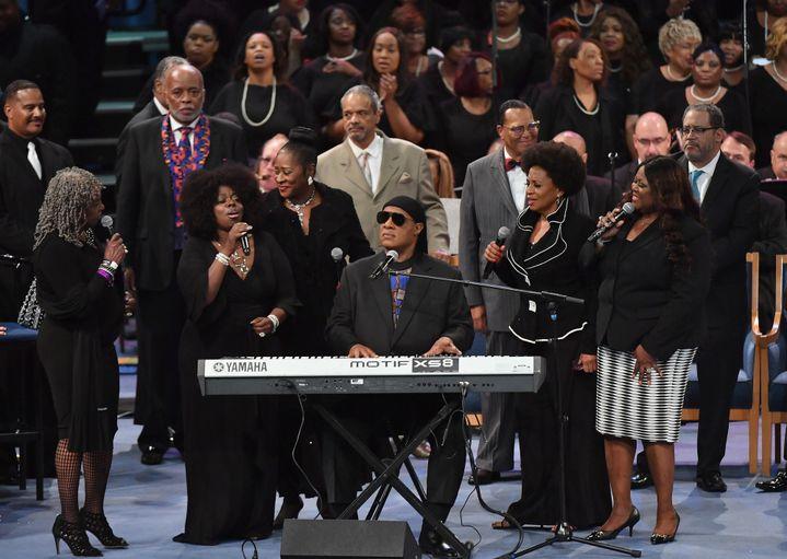 L'hommage musical de Stevie Wonder.  (Angela Weiss / AFP)