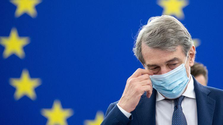 Le président du Parlement européen David Sassoli à Strasbourg (Bas-Rhin), le 7 juillet 2021. (PATRICK HERTZOG / AFP)