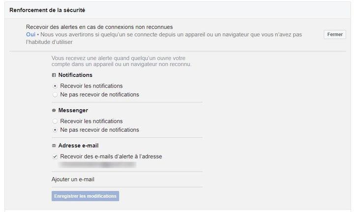 L'option permettant de recevoir des alertes en cas de connexion non reconnue à votre compte Facebook. (FACEBOOK)