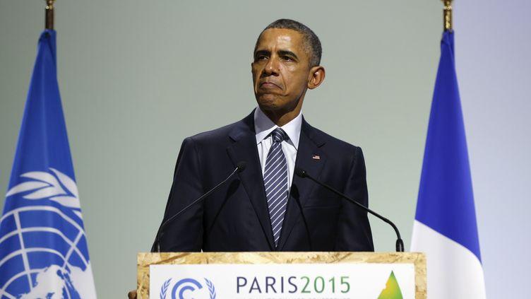Barack Obama lors de son discours lors de l'inauguration de la COP21, au Bourget, lundi 30 novembre. (KEVIN LAMARQUE / REUTERS)