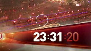 Capture d'écran d'une vidéo montrant le meurtre de l'opposant russe Boris Nemtsov, le 27 février 2015, à Moscou (Russie). (TVC / FRANCETV INFO)