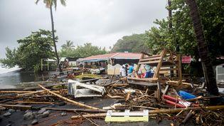 La commune du Carbet, à la Martinique, après le passage de Maria, le 19 septembre 2017. (LIONEL CHAMOISEAU / AFP)