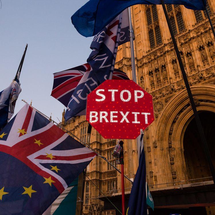 Un panneau anti-Brexit devant le Parlement britannique, à Londres, le 22 octobre 2019. (WIKTOR SZYMANOWICZ / NURPHOTO / AFP)