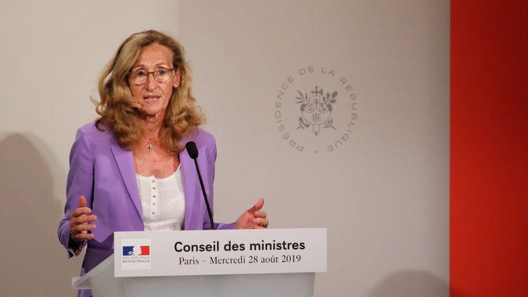 Le ministre de la Justice, Nicole Belloubet, lors d'une conférence de presse à l'Elysée, à Paris, le 28 août 2019. (LUDOVIC MARIN / AFP)