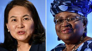 Les deux dernières candidates en lice pour prendre la tête de l'OMC : l'ancienne ministre du Commerce de la Corée du Sud Yoo Myung-hee (à gauche) et l'ancienne ministre des Finances du Nigeria Ngozi Okonjo-Iweala (à droite).Genève, le 16 juillet 2020. (Fabrice COFFRINI / AFP)