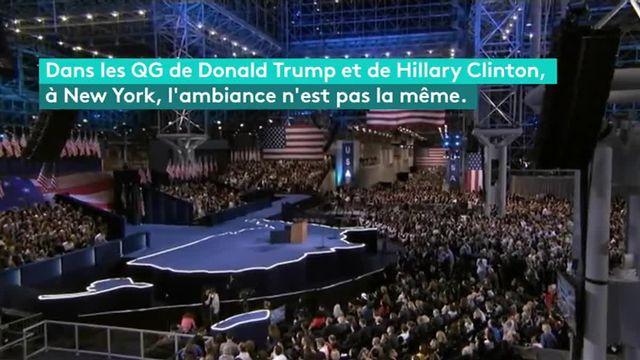 Trump/Clinton : deux QG, deux ambiances