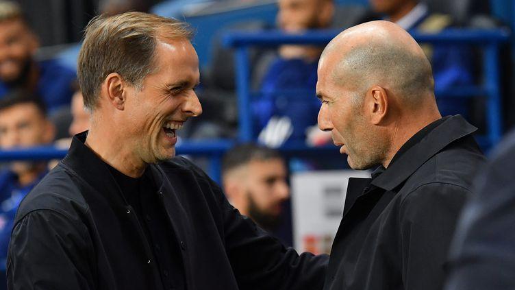 Thomas Tuchel et Zinédine Zidane lors d'un match entre le PSG et le Real Madrid au Parc des Princes, le 18 septembre 2019. (MAXPPP)