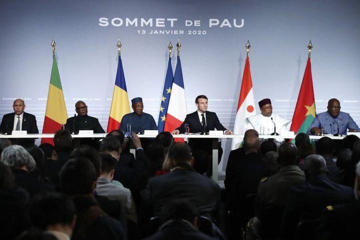Conférence de presse dans le cadre du sommet du G5 sur le Sahel au Château de Pau, le 13janvier 2020.  (GUILLAUME HORCAJUELO/AFP)