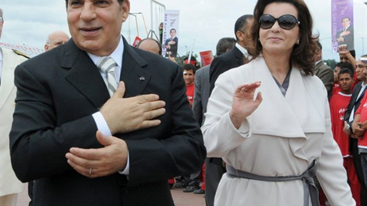 Zine El Abidine Ben Ali et son épouse Leila, le 25 octobre 2010. (AFP - Fethi Belaid)