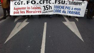 Manifestation pour la défense des 35 heures, pour le retrait de la loi Travail à Caen le 5 février 2015. (MYCHELE DANIAU / AFP)
