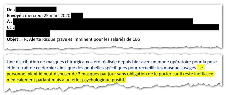Extrait d'un mail envoyé par l'entreprise CBS aux élus syndicaux le 23 avril 2020. (CELLULE INVESTIGATION DE RADIOFRANCE)